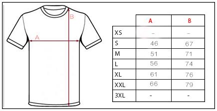Tabla de medidas de camisetas credens